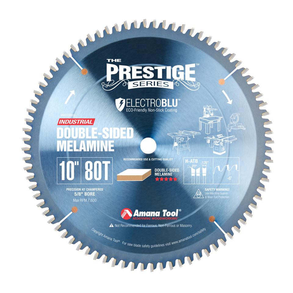 MB10800C Electro-Blu™ Carbide Tipped Double-Face Melamine 10 Inch Dia x 80T H-ATB, -6 Deg, 5/8 Bore, Non-Stick Coated