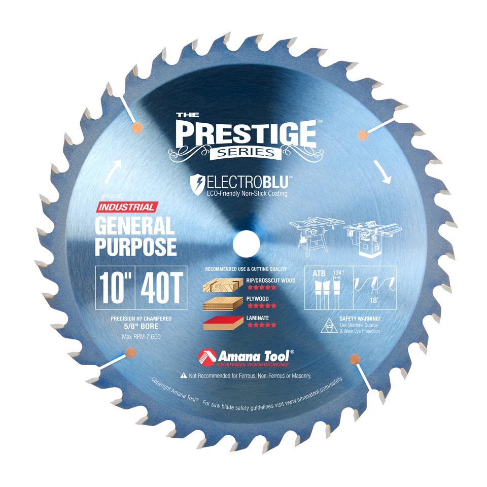 PR1040C Electro-Blu™ Carbide Tipped Prestige General Purpose 10 Inch Dia 40T ATB, 18 Deg, 5/8 Bore, Non-Stick Coated