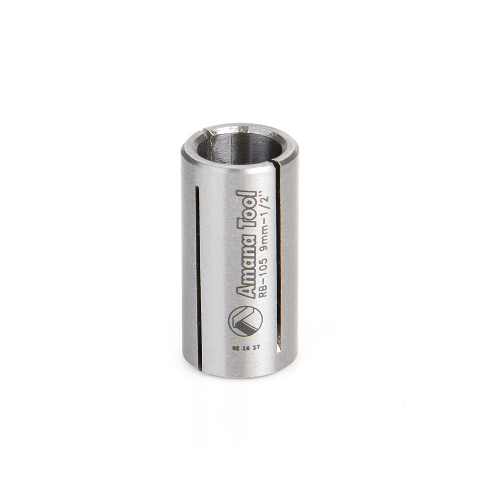 RB-105 High Precision Steel Router Collet Reducer 1/2 Overall Dia x 9mm Inner Dia x 1 Inch Long
