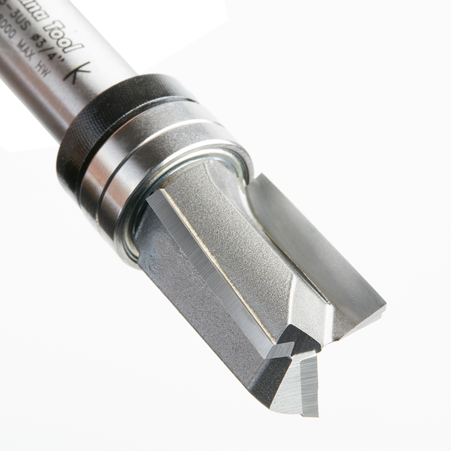 45463-3US Carbide Tipped Up Shear Face Plunge Template 3/4 Dia x 1 x 1/2 Inch Shank with Upper BB