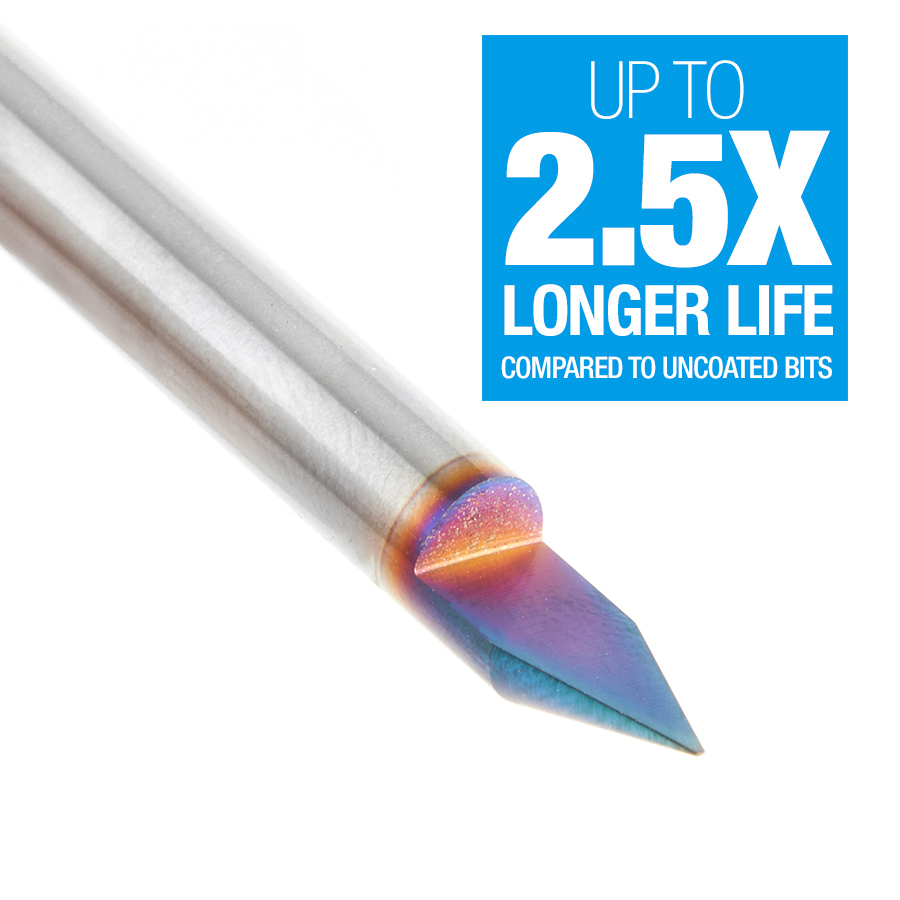 45622-K Solid Carbide 45 Degree Engraving 0.025 Tip Width x 1/4 Inch Shank Signmaking Spektra™ Extreme Tool Life Coated Router Bit