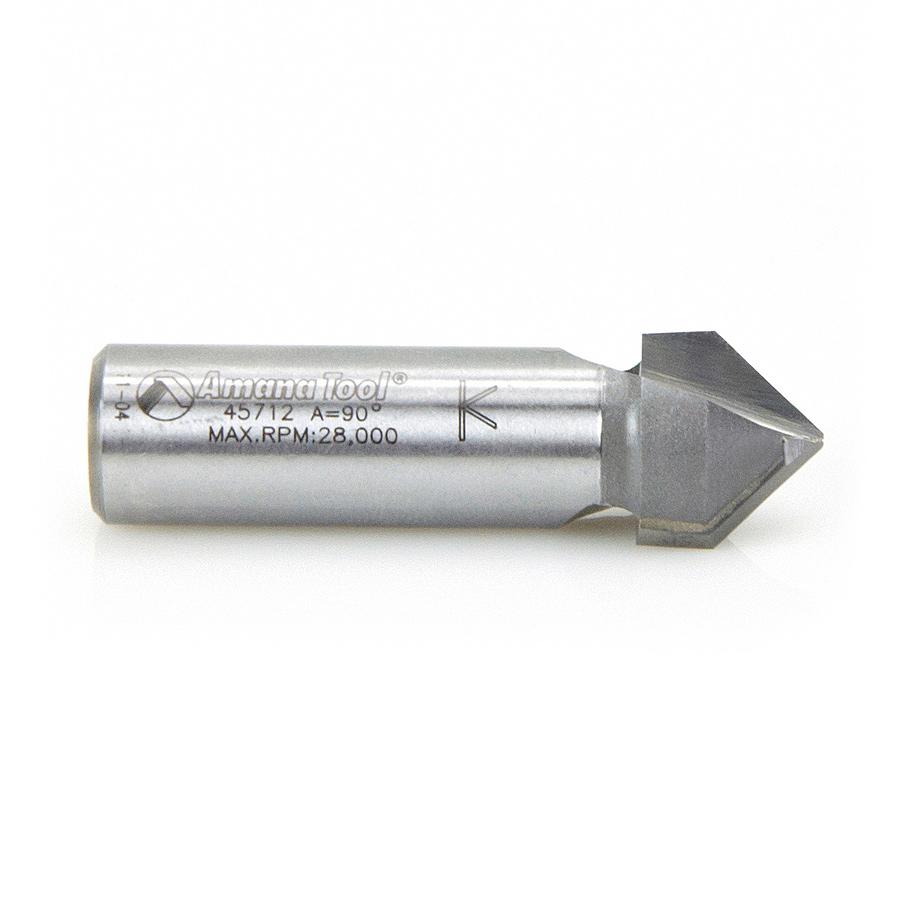 45712 Carbide Tipped V-Groove 90 Deg x 5/8 Dia x 1/2 x 1/2 Inch Shank