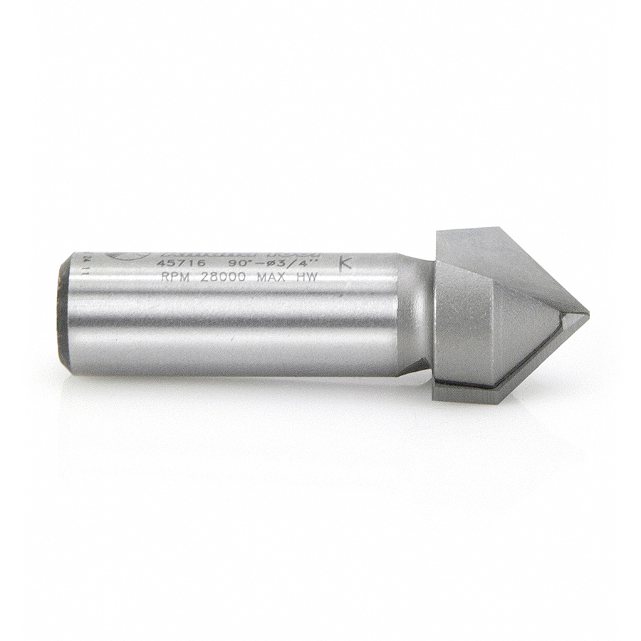45716 Carbide Tipped V-Groove 90 Deg x 3/4 Dia x 5/8 x 1/2 Inch Shank