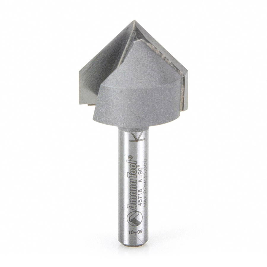 45718 Carbide Tipped V-Groove 90 Deg x 7/8 Dia x 3/4 x 1/4 Inch Shank
