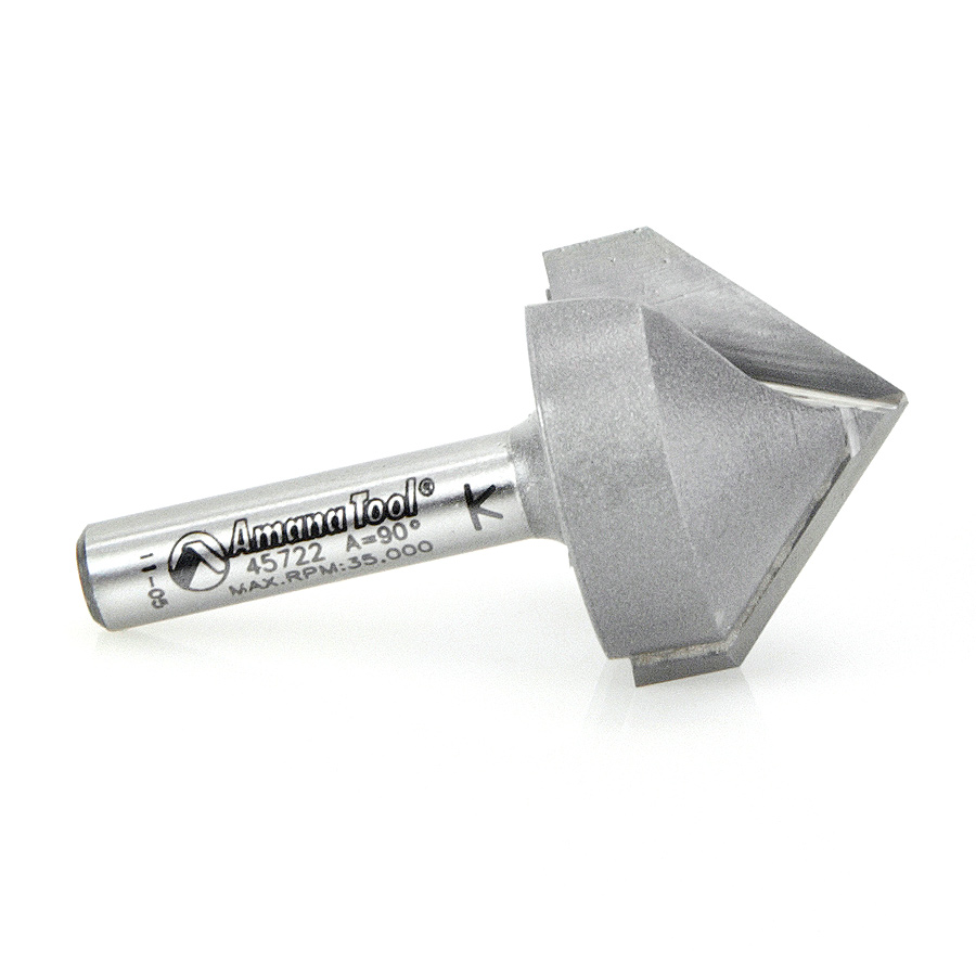 45722 Carbide Tipped V-Groove 90 Deg x 1 Inch Dia x 1/2 x 1/4 Shank