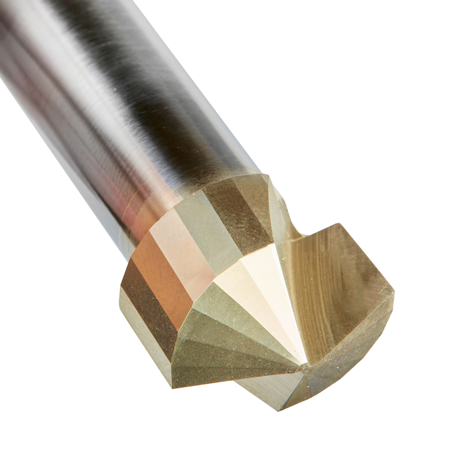 45743 Carbide V-Groove 135 Deg. Folding for Composite Material Panels Like TCM, CCM, ACM, 0.078 Inch Tip Width x 1/2 x 3/4 Dia. x 1/2 Inch Shank ZrN Coated Router Bit