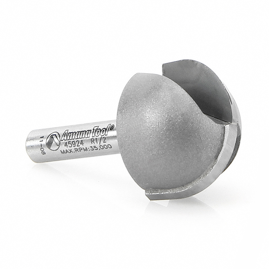 45924 Carbide Tipped Core Box 1/2 Radius x 1 Inch Dia x 5/8 x 1/4 Shank