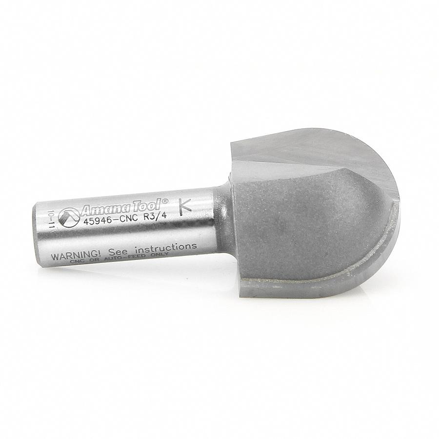 45946-CNC Carbide Tipped Core Box 3/4 Radius x 1-1/2 Dia x 1-1/4 x 1/2 Inch Shank CNC