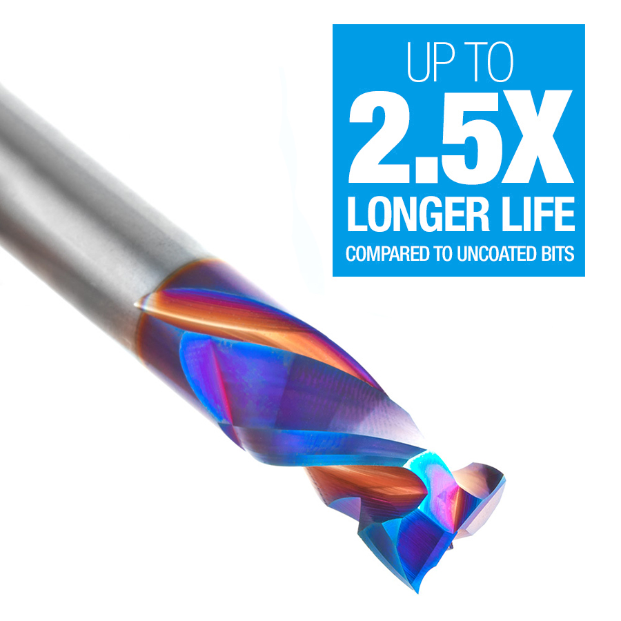 46019-K CNC Solid Carbide Spektra™ Extreme Tool Life Coated Mortise Compression Spiral 1/2 Dia x 1 Inch x 1/2 Shank