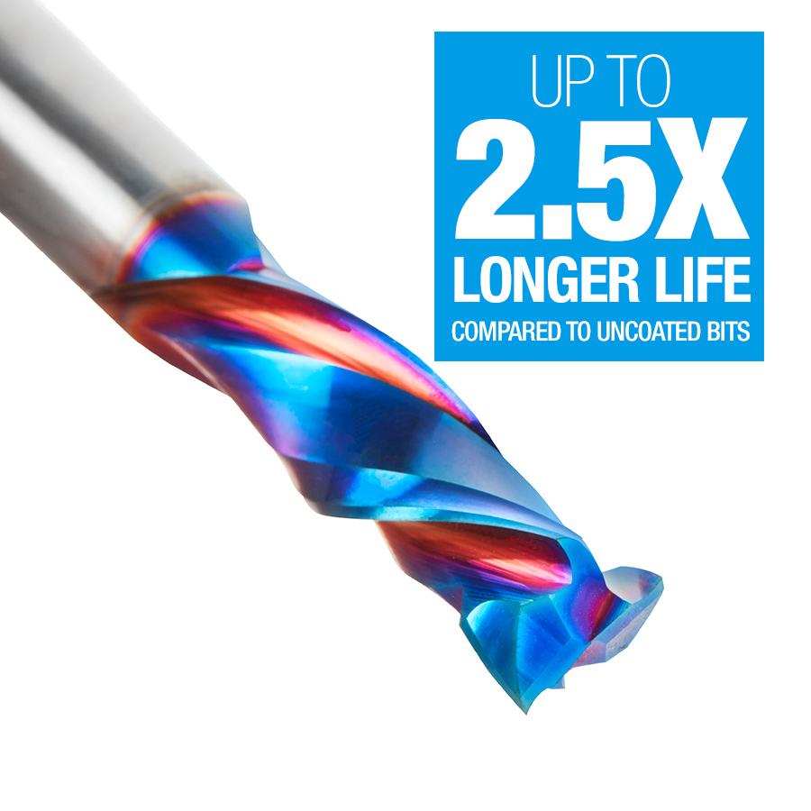 46021-K CNC Solid Carbide Spektra™ Extreme Tool Life Coated Mortise Compression Spiral 3/8 Dia x 1-1/4 Inch x 3/8 Shank