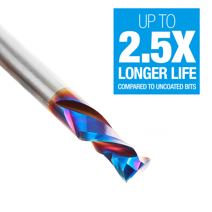 46029-K CNC Solid Carbide Spektra™ Extreme Tool Life Coated Mortise Compression Spiral 1/4 Dia x 5/8 Inch x 1/4 Shank