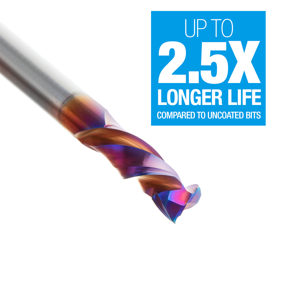 46033-K CNC Solid Carbide Spektra™ Extreme Tool Life Coated Mortise Compression Spiral 1/4 Dia x 7/8 Inch x 1/4 Shank