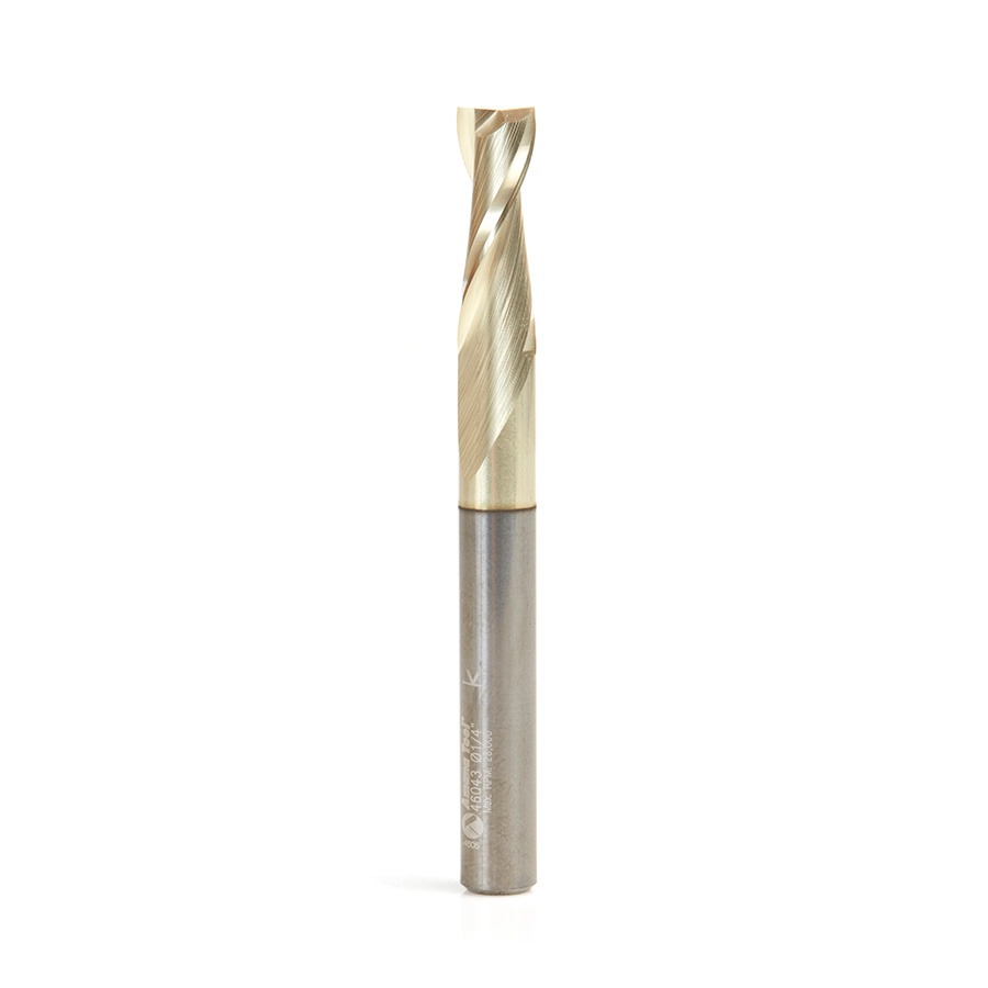 46043 Solid Carbide Up-Cut Spiral 1/4 Dia x 3/4 x 1/4 Shank x 2-1/2 Inch Long Composite, Fiberglass & Phenolic Cutting ZrN Coated Router Bit