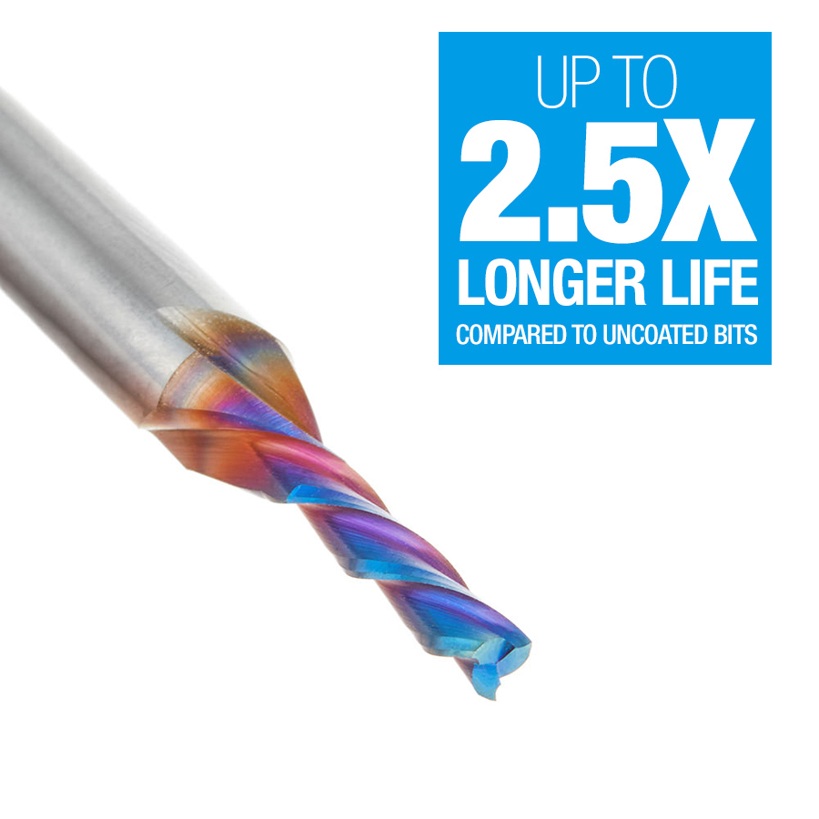 46051-K Solid Carbide Spektra™ Extreme Tool Life Coated Spiral Plunge 1/8 Dia x 1/2 x 1/4 Inch Shank Down-Cut, 3-Flute
