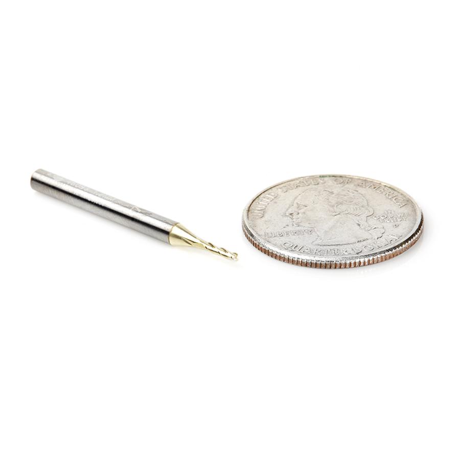 46093 Solid Carbide Up-Cut Spiral 1.2mm Dia x 5mm x 1/8 Shank x 35mm Long Composite, Fiberglass & Phenolic Cutting ZrN Coated Router Bit