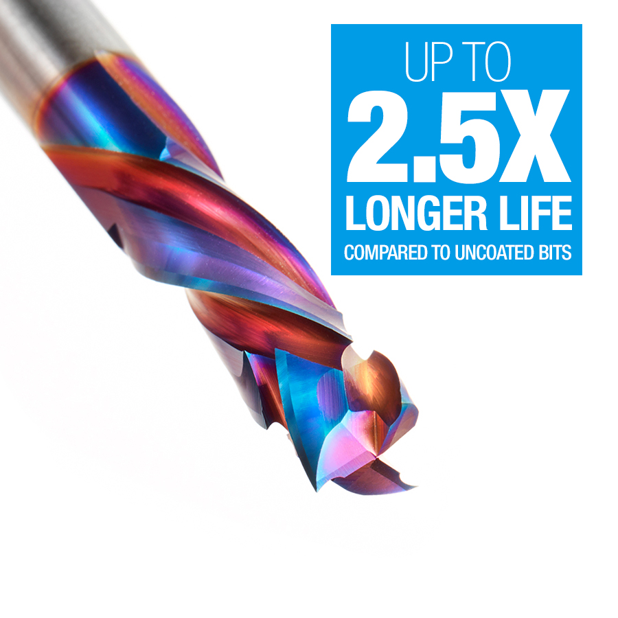 46010-K (Previous number 46166) CNC Solid Carbide Spektra™ Extreme Tool Life Coated Compression Spiral 3 Flute x 3/8 Dia x 1-1/8 x 3/8 Shank