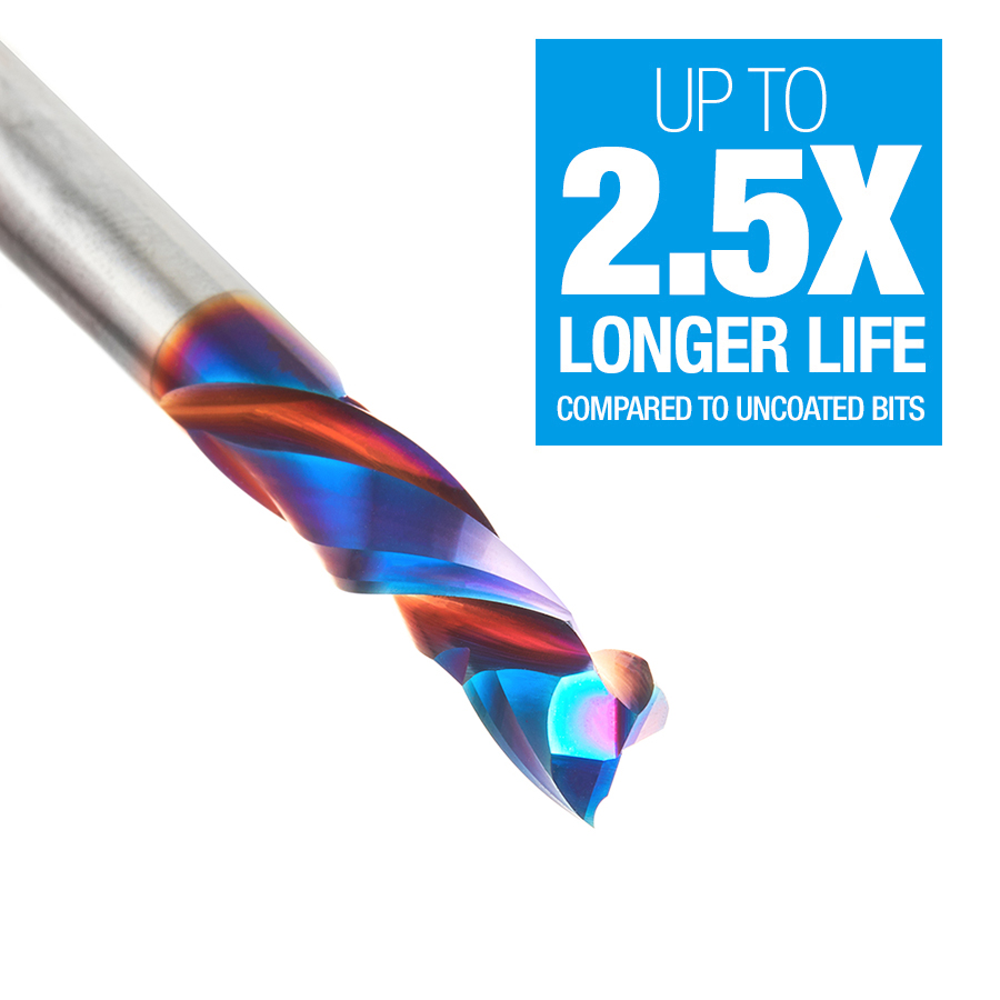 46170-K CNC Solid Carbide Spektra™ Extreme Tool Life Coated Compression Spiral 1/4 Dia x 7/8 x 1/4 Inch Shank