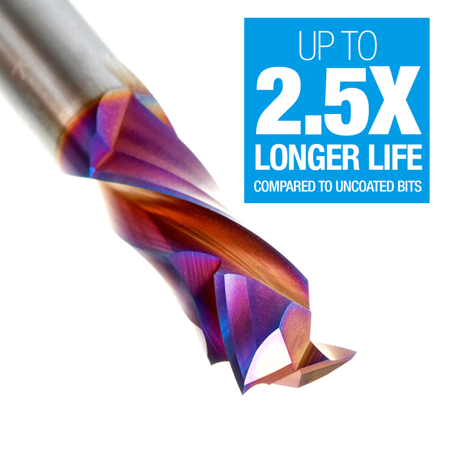 46188-K CNC Solid Carbide Spektra™ Extreme Tool Life Coated Compression Spiral 1/2 Dia x 1-1/4 x 1/2 Inch Shank