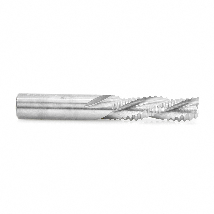46224 CNC Solid Carbide Roughing Spiral 3 Flute Chipbreaker 1/2 Dia x 1-5/8 x 1/2 Inch Shank Down-Cut Router Bit