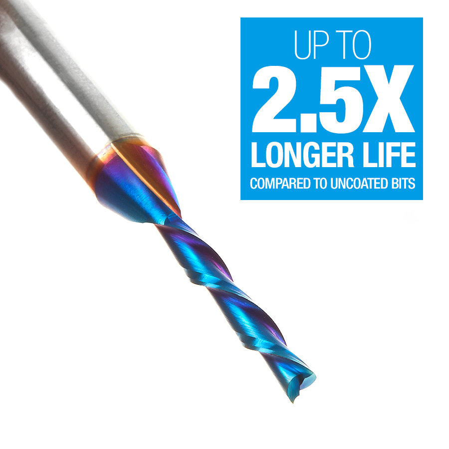46225-K Solid Carbide Spektra™ Extreme Tool Life Coated Spiral Plunge 1/8 Dia x 13/16 x 1/4 Inch Shank
