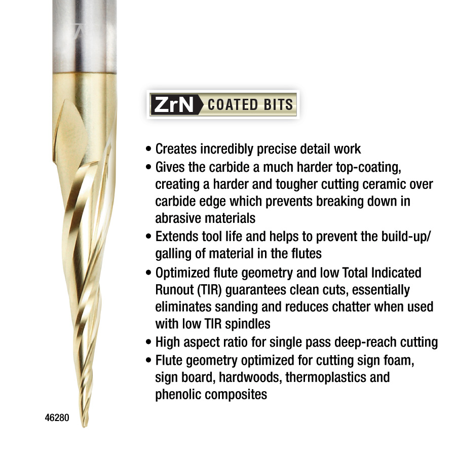 46282 CNC 2D and 3D Carving 5.4 Deg Tapered Angle Ball Tip 1/16 Dia x 1/32 Radius x 1 x 1/4 Shank x 3 Inch Long x 4 Flute Solid Carbide Up-Cut Spiral ZrN Coated Router Bit