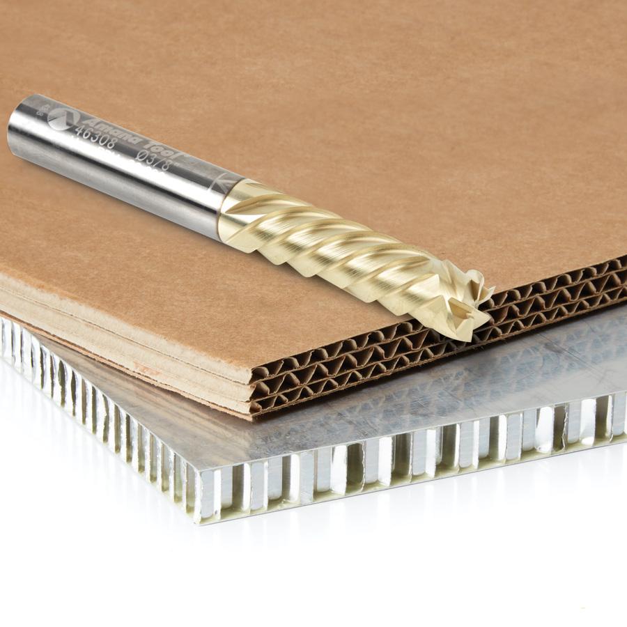 46308 CNC Compression Solid Carbide ZrN Coated Honeycomb Cutting 3/8 Dia x 1-1/4 x 3/8 Shank x 6-Flute