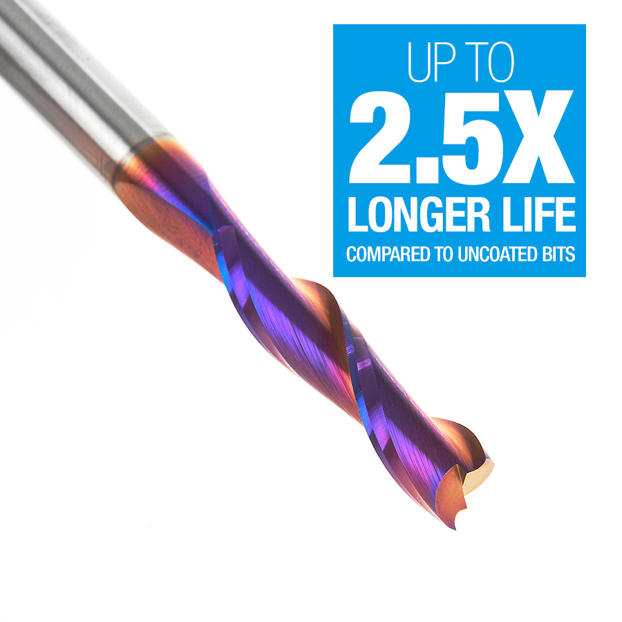 46316-K Solid Carbide Spektra™ Extreme Tool Life Coated Spiral Plunge 1/4 Dia x 1-1/8 x 1/4 Inch Shank Up-Cut