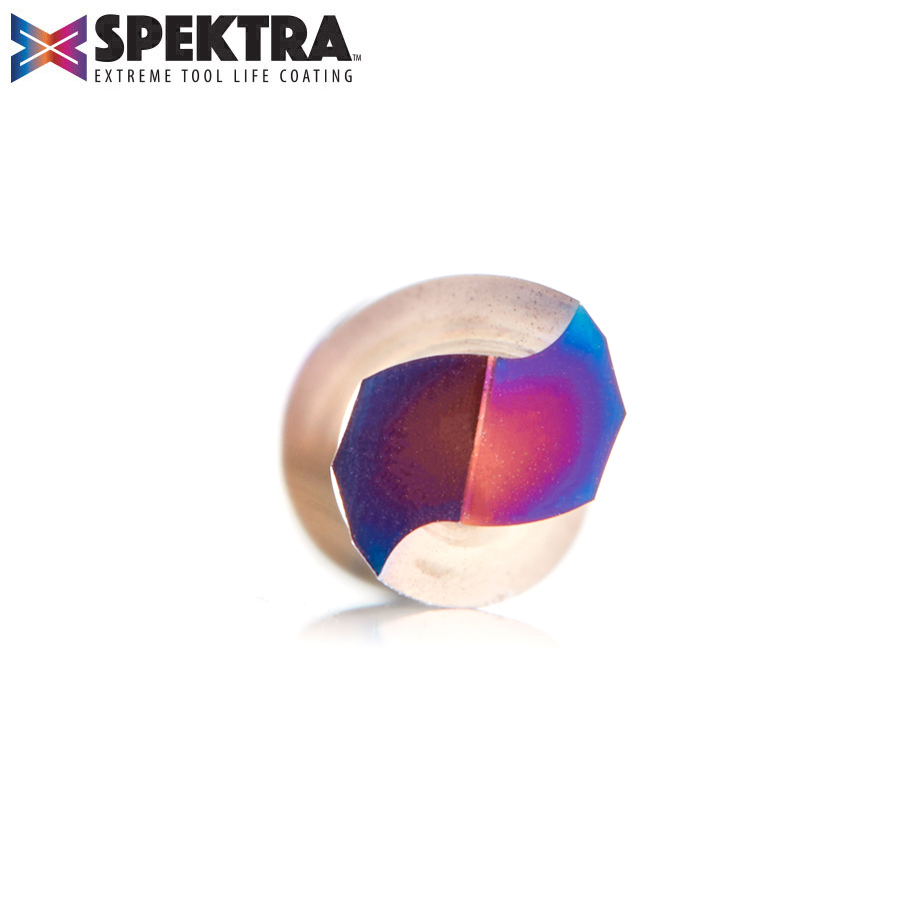 46348-K Solid Carbide Spektra™ Extreme Tool Life Coated Spiral Plunge for Solid Wood 1/4 Dia x 1 x 1/4 Inch Shank Down-Cut