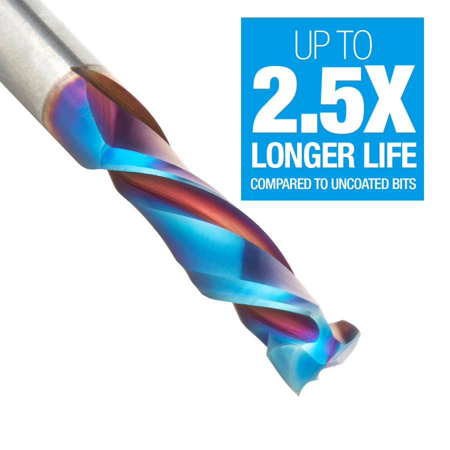 46350-K CNC Solid Carbide Spektra™ Extreme Tool Life Coated Mortise Compression Spiral 1/4 Dia x 1 Inch x 1/4 Shank