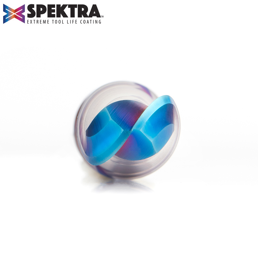 46380-K Solid Carbide Spektra™ Extreme Tool Life Coated Up-Cut Ball Nose Spiral 1/2 Dia x 1-1/4 Inch x 1/2 Shank Router Bit