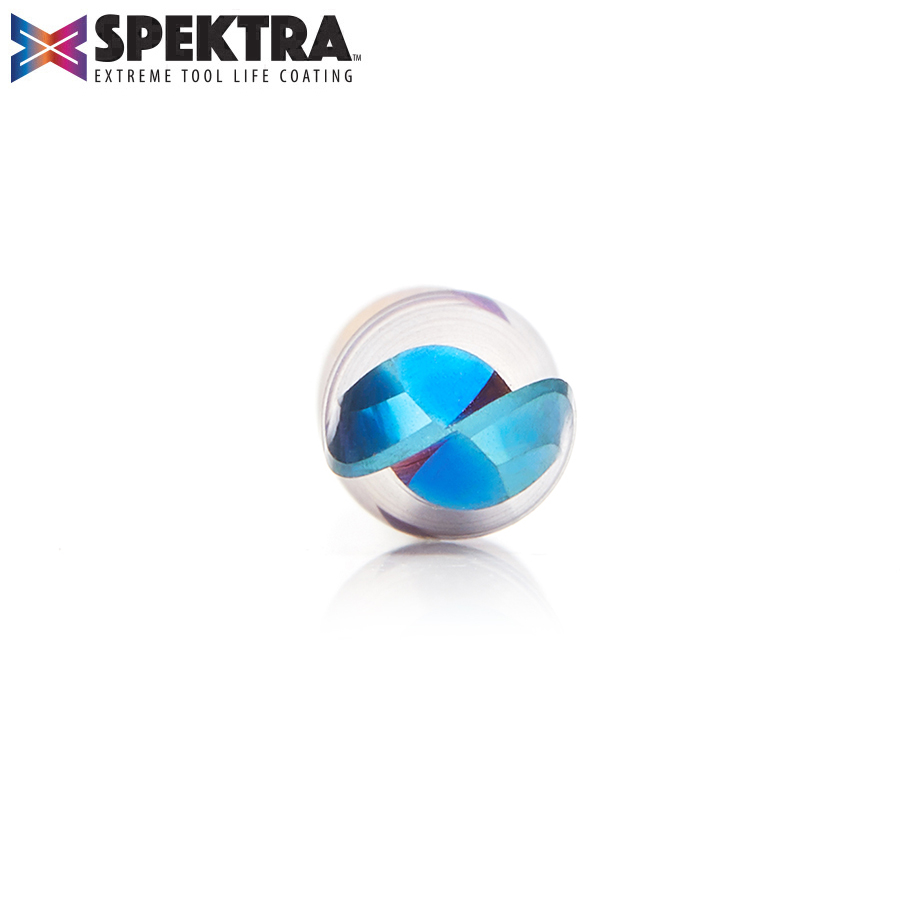 46426-K Solid  Carbide Spektra™ Extreme Tool Life Coated Up-Cut Spiral Ball Nose 1/8 Radius x 1/4 Dia x 1/2  x 1/4 Shank x 2-1/2 Inch Long x 2 Flute Router Bit