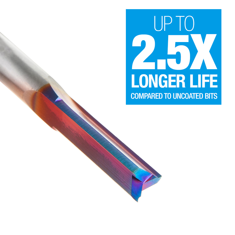 46483-K Solid Carbide Spektra™ Extreme Tool Life Coated Double Straight Flute  Plastic Cutting 1/4 Dia x 1 x 1/4 Inch Shank