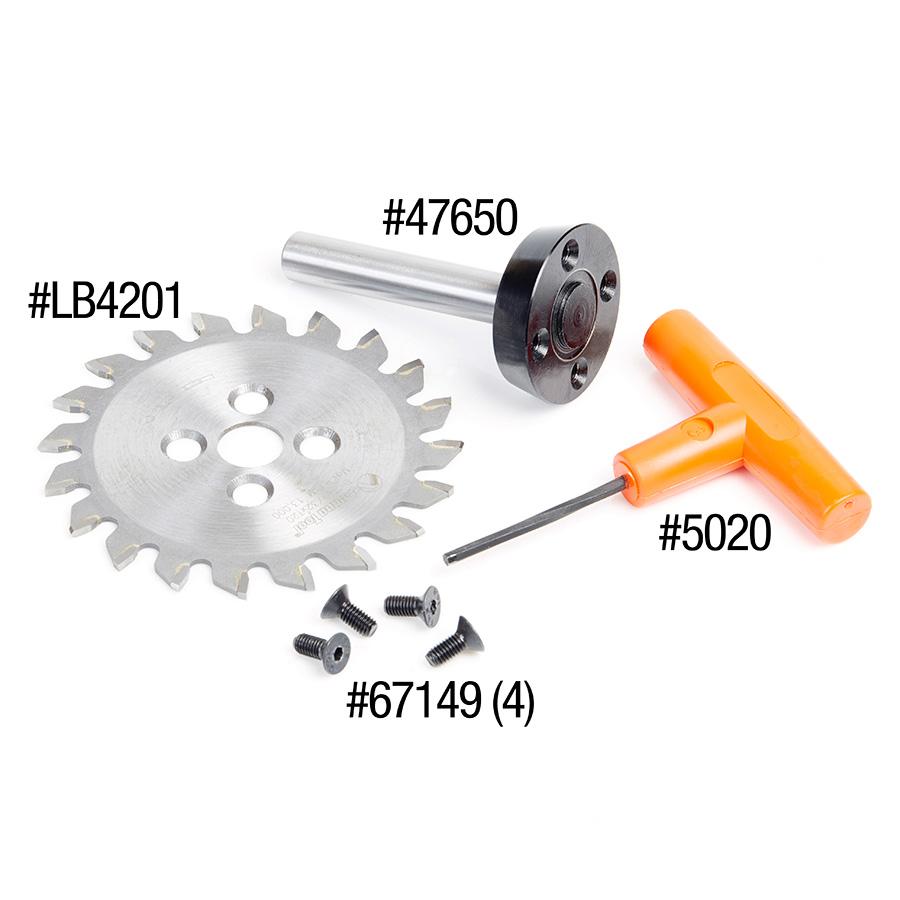 48200 Carbide Tipped Plastic Trim Saw Blade and Arbor CNC System 4 Inch Dia x 20T TCG, 0 Deg x 1/2 Shank 100% Flash Mounting