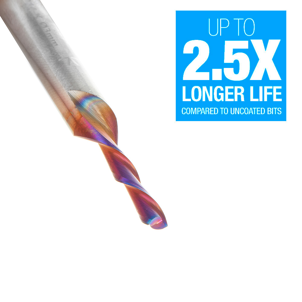 48214-K Solid Carbide Spektra™ Extreme Tool Life Coated Spiral Plunge 3mm Dia x 12mm x 6mm Shank