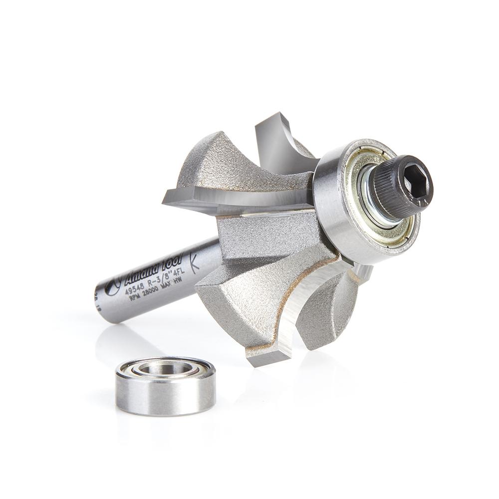 49548 Carbide Tipped 4 Flute Corner Rounding/Beading 3/8 Radius x 1-3/8 Dia x 5/8 x 1/4 Inch Shank
