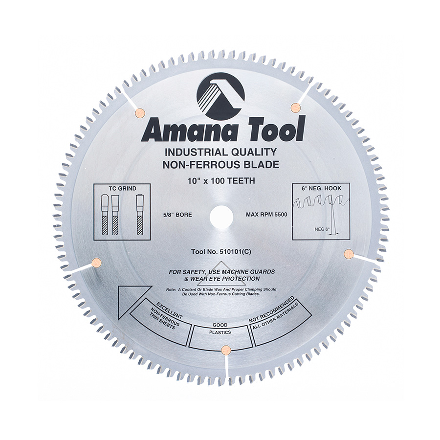 10-Inch 80 Tooth TCG Aluminum And Non-Ferrous Metal Saw Blade With 5//8-Inch