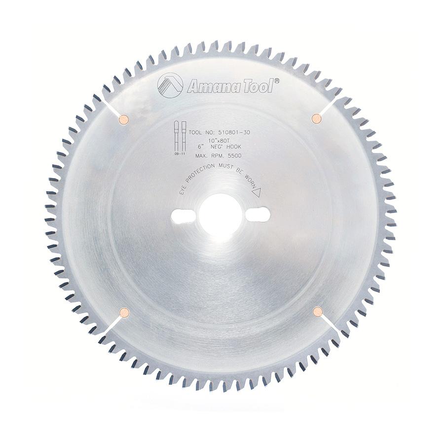 510801-30 Carbide Tipped Aluminum and Non-Ferrous Metals 10 Inch Dia x 80T TCG, -6 Deg, 30mm Bore