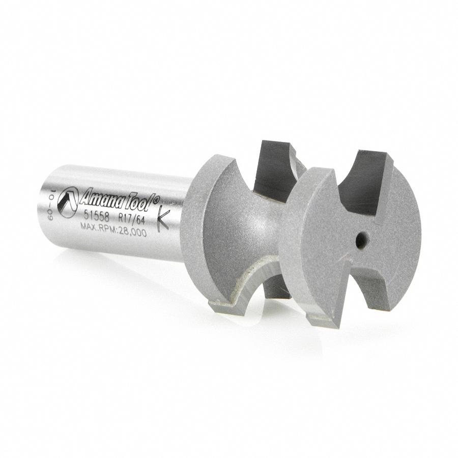51558 Carbide Tipped Bullnose 17//64 Radius x 1-1//32 Dia x 1 2 Shank Amana Tool