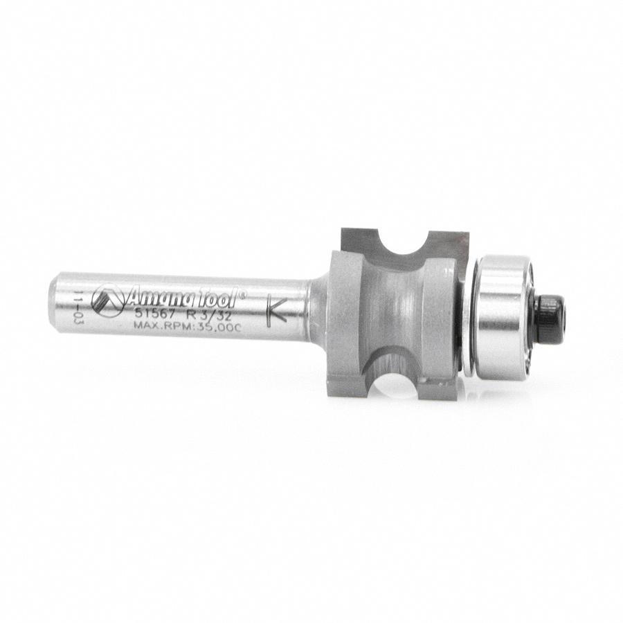 51567 Carbide Tipped Bullnose 3/32 Radius x 11/16 Dia x 1/2 x 1/4 Inch Shank