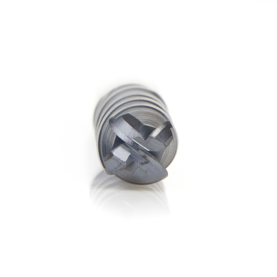 51800 High Performance Solid Carbide CNC Steel, Stainless Steel & Composite Cutting Variable Helix Spiral Ball Nose with AlTiN Coating 4-Flute x 1/4 Dia x 1-1/8 x 1/4 Shank x 3 Inch Long Up-Cut Router Bit/End Mill