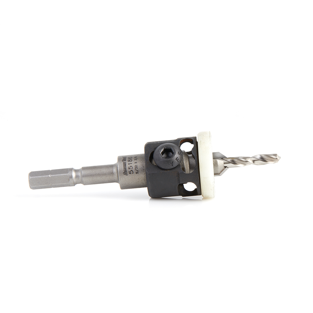 55186 Carbide Tipped 82 Degree Countersink with Adjustable Low Friction Depth Stop, For Festool® CENTROTEC® System 3/8 Dia x 5/32 Drill Dia