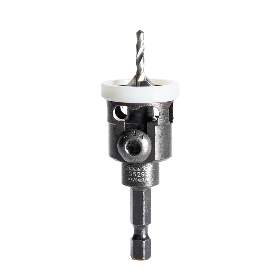 55293 Carbide Tipped 82 Degree Countersink with Adjustable Low Friction Depth Stop, 3/8 Dia x 7/64 Drill Dia x 1/4 Inch Quick Release Hex Shank