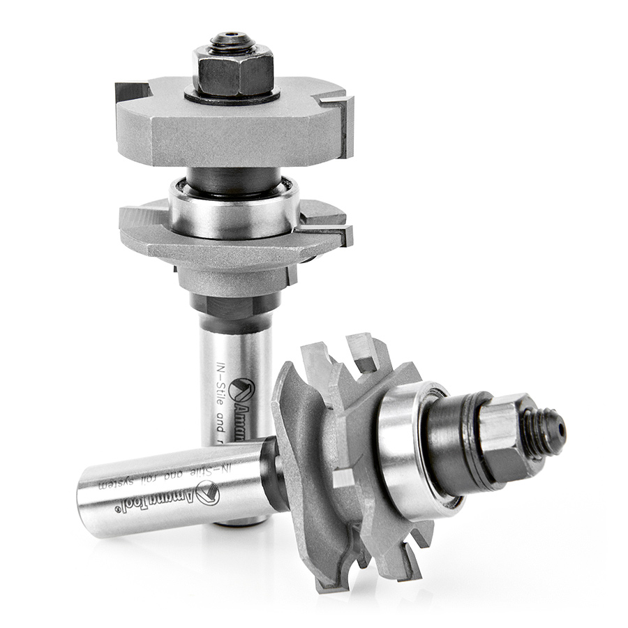55436 Carbide Tipped Adjustable Ogee Instile and Rail System 1-5/8 Dia x 5/8 to 1-1/8 x 5/32 Radius x 1/2 Inch Shank Set