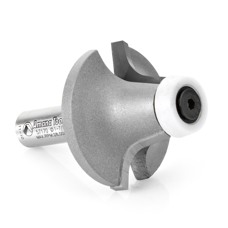 57170 Carbide Tipped Round Over with Ultra-Glide Radius Bearing Guide Solid Surface 1-7/8 Dia x 1 Inch x 10 Deg x 3/8 Radius x 1/2 Shank