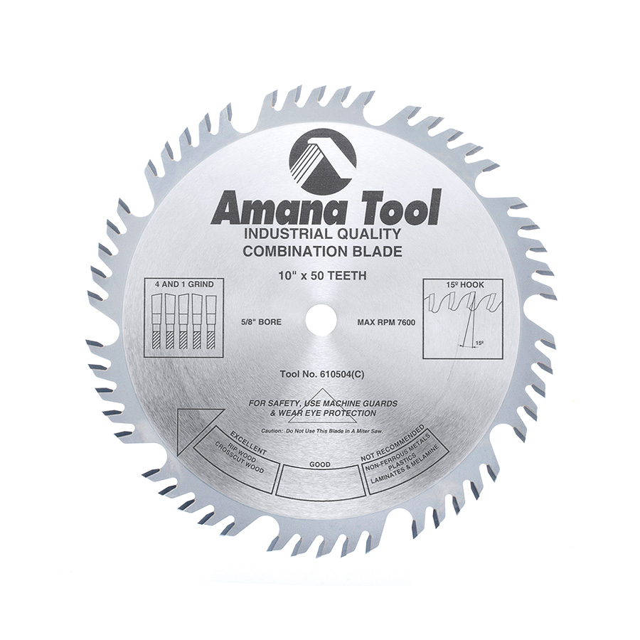 610504 Carbide Tipped Combination Ripping and Crosscut 10 Inch Dia x 50T 4+1, 15 Deg, 5/8 Bore