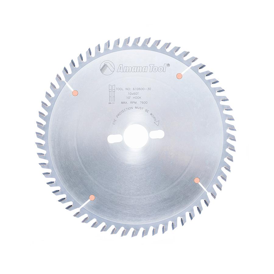 610600-30 Carbide Tipped Cut-Off and Crosscut 10 Inch Dia x 60T ATB, 10 Deg, 30mm Bore