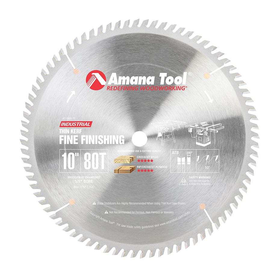 610800-TS Carbide Tipped Thin Kerf Miter 10 Inch Dia x 80T ATB, 10 Deg, 5/8 Bore