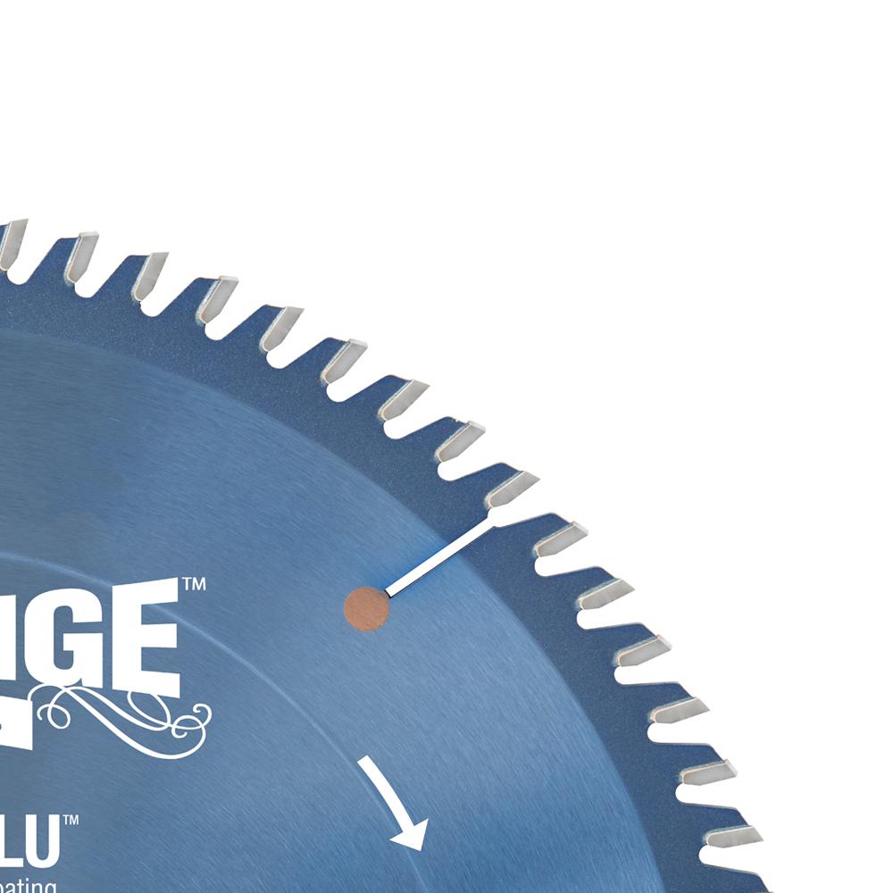 610800C Electro-Blu™ Carbide Tipped Prestige™ Trim 10 Inch Dia x 80T ATB, 10 Deg, 5/8 Bore, Non-Stick Coated