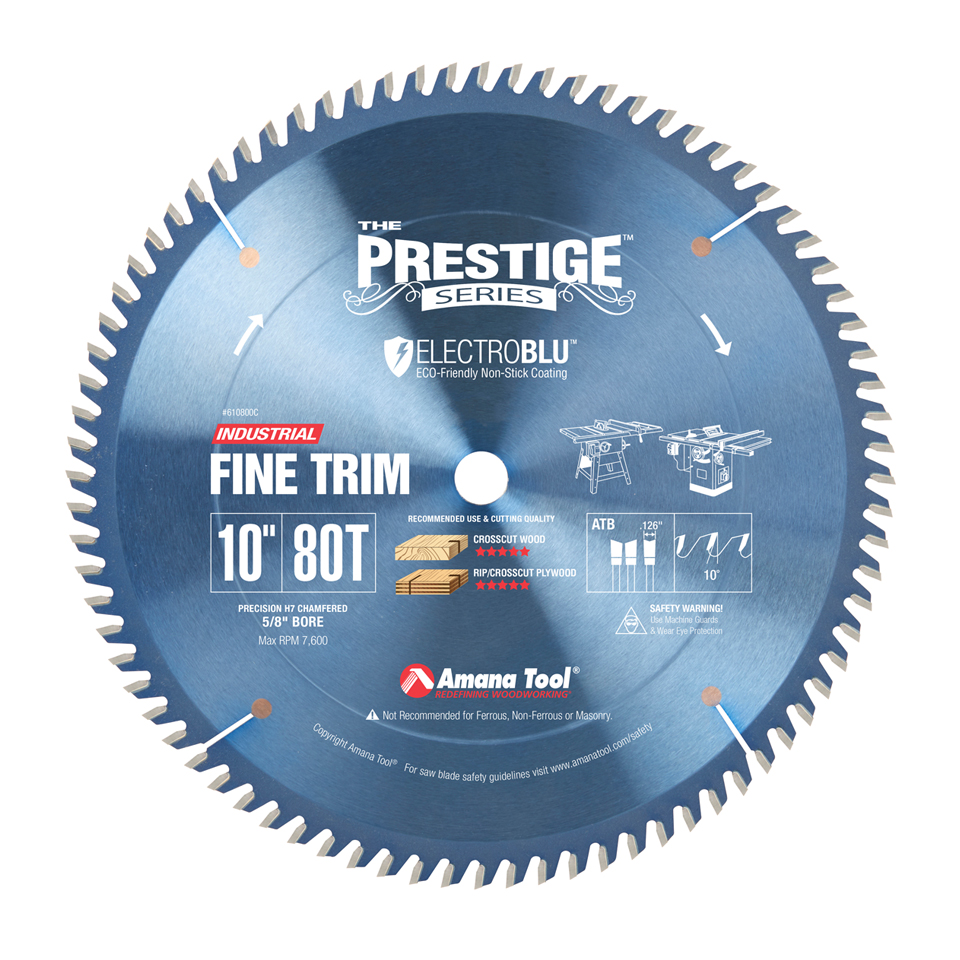 610800C Electro-Blu™ Carbide Tipped Trim 10 Inch Dia x 80T ATB, 10 Deg, 5/8 Bore, Non-Stick Coated