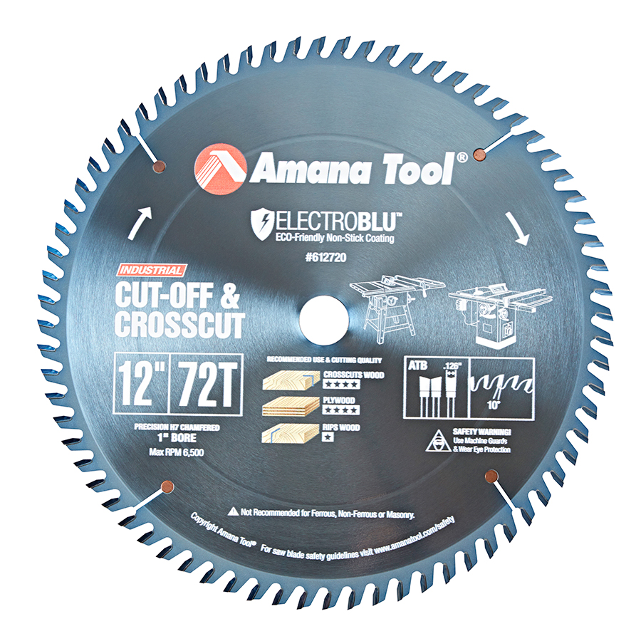 612720C Electro-Blu™ Carbide Tipped Cut-Off and Crosscut 12 Inch Dia x 72T ATB, 10 Deg, 1 Inch Bore, Non-Stick Coated